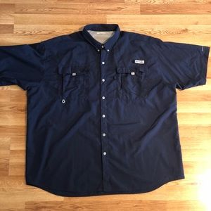 Columbia Button Up 3XL blue shirt Hiking/outdoors